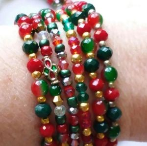6 Holiday Christmas Stack Bracelets Bundle